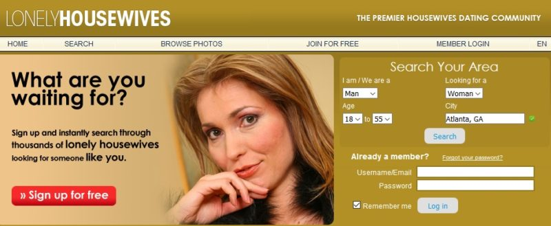 lonelyhousewives homepage