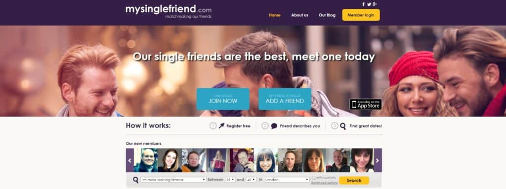 MySingleFriend.com Login Page