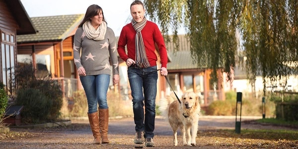 Couple Walking Dog Together