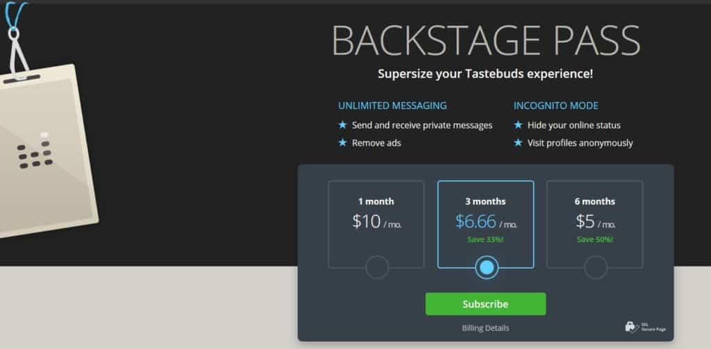 tastebuds.fm cost
