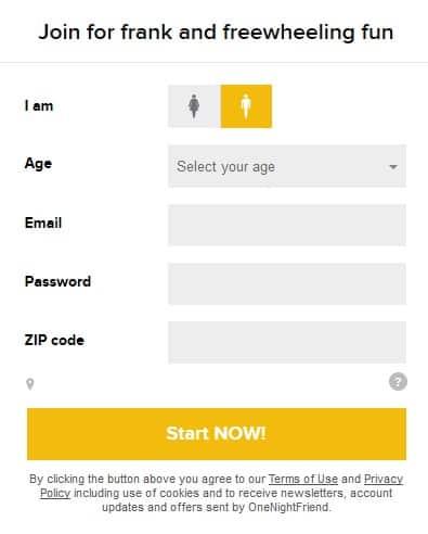 OneNightFriend Registration 1