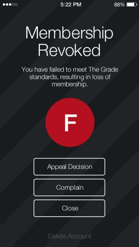 the grade dating app membership revoked